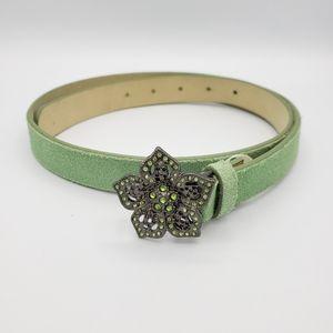 Merona green leather suede flower belt